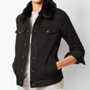 Faux fur jean jacket